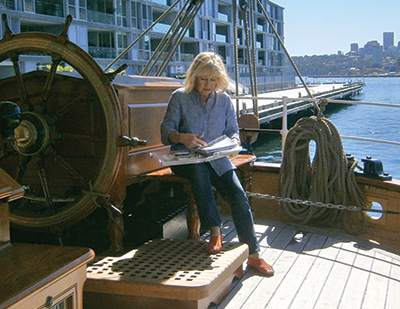 Christine Hill sketching aboard 'James Craig'