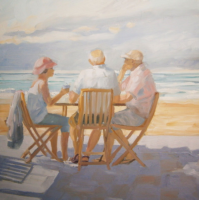 Coffee at the beach, Thirroul | Oil on canvas | $350